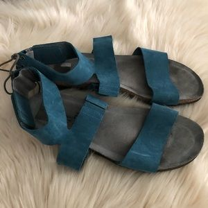 Naot Larissa blue suede ankle sandals cork footbed